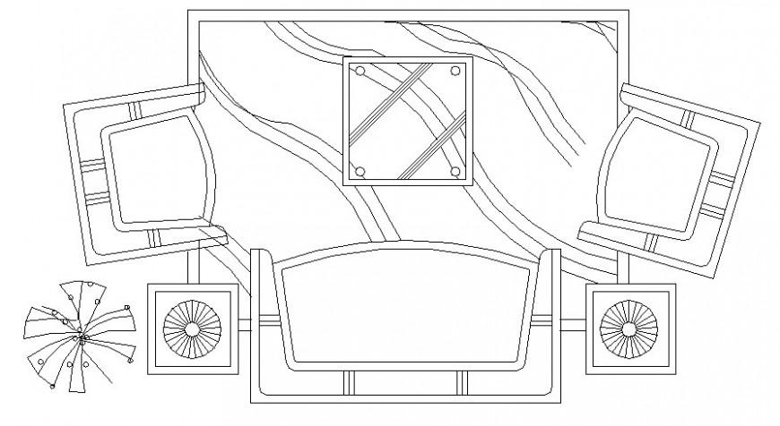 Drawing room furniture units of sofa-set layout autocad