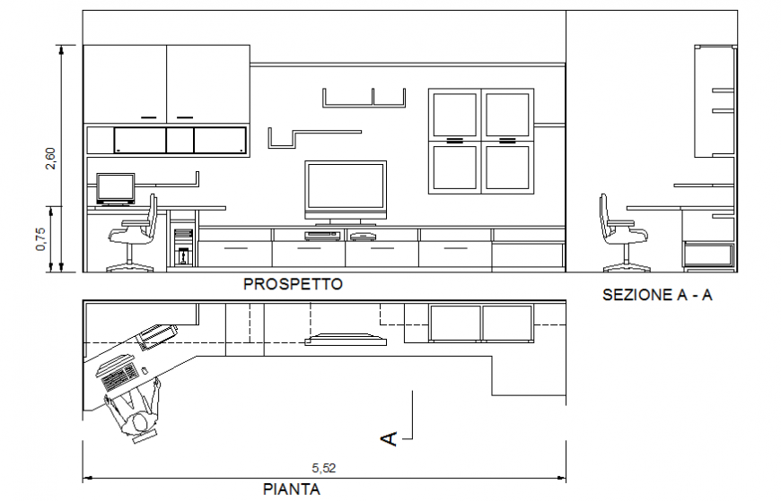 Drawing room interior and furniture details of house dwg file
