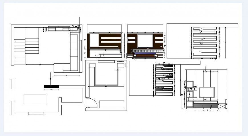 Drawing room plan, furniture and tv cabinet drawing details dwg file