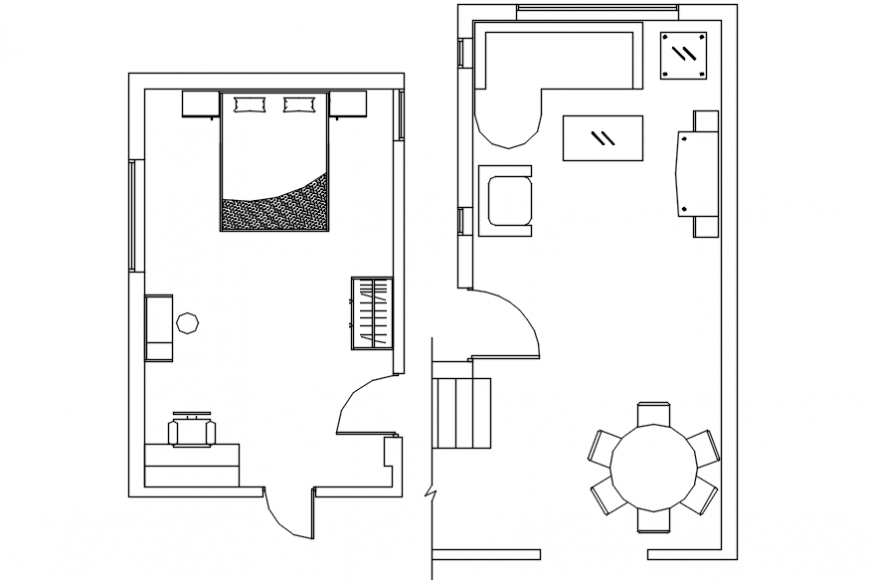 Drawing room plan and bedroom plan with furniture drawing details dwg file