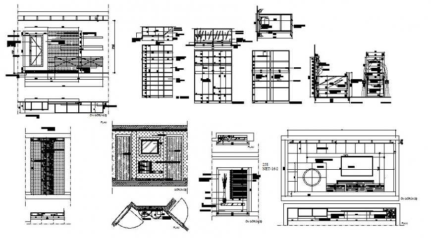 Drawing room section plan, furniture and interior details dwg file