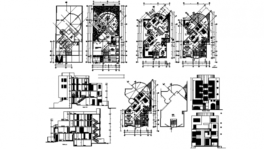 Drawings 2d drawings of house plan elevation and section dwg file