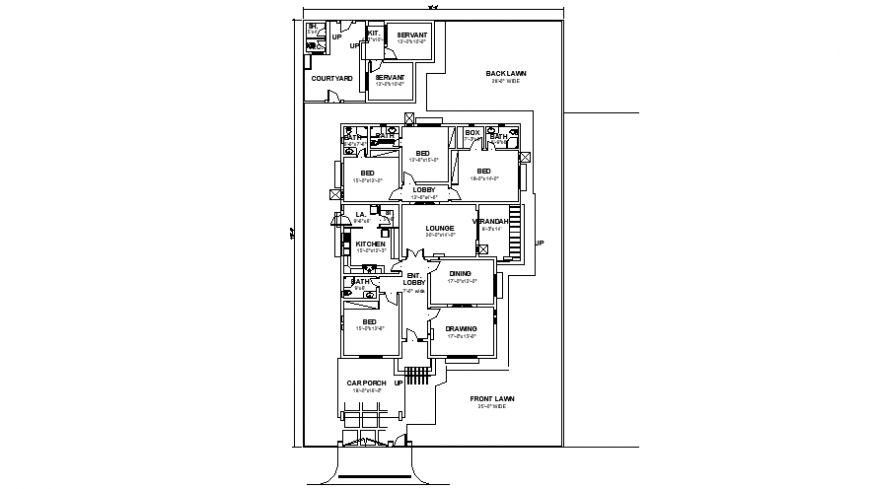 Drawings 2d view center line of house autocad file