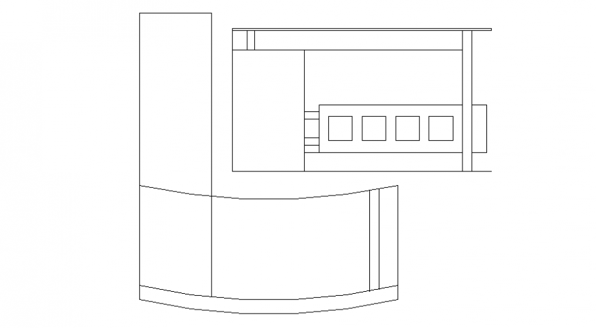 Drawings 2d view elevation of furniture autocad software file