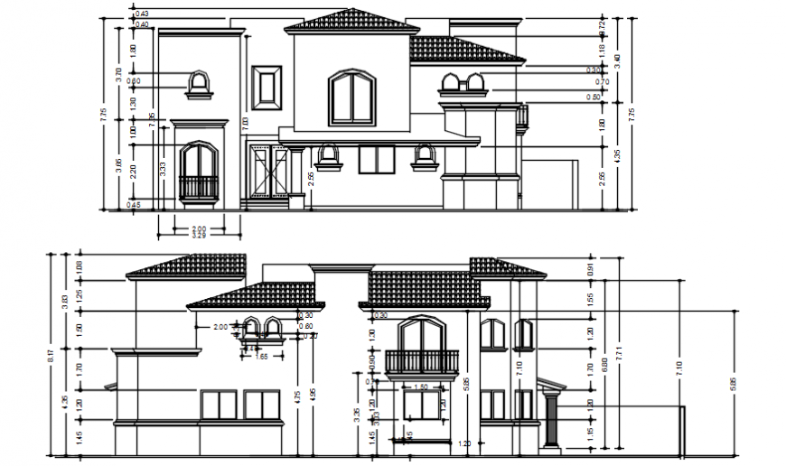 Drawings 2d view elevation of housing residential bungalow dwg file