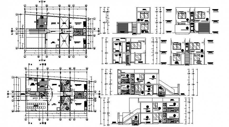 Drawings 2d view floor plan elevation and a section of building apartment autocad file