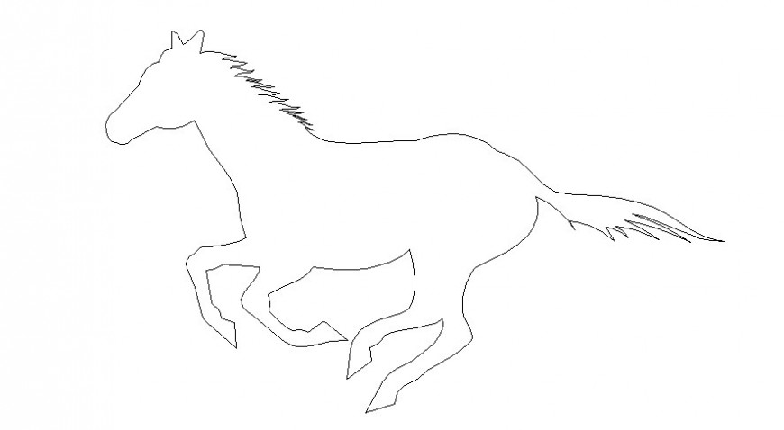 Drawings 2d view horse elevation autocad software file