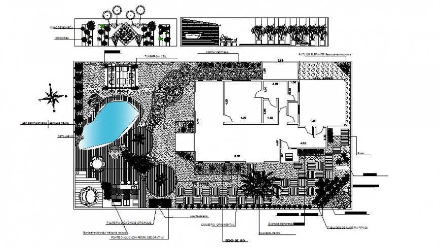 Drawings 2d view of bungalow plan layout file in autocad software file