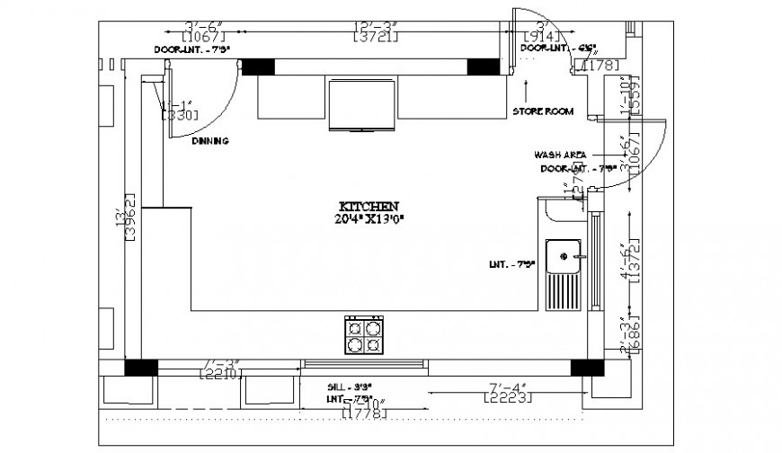 Drawings 2d view of kitchen area autocad software file