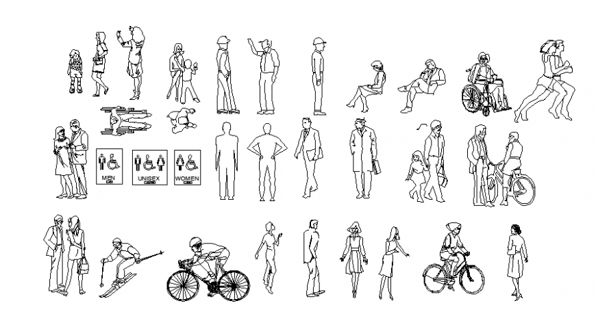 Drawings 2d view of people units autocad software file
