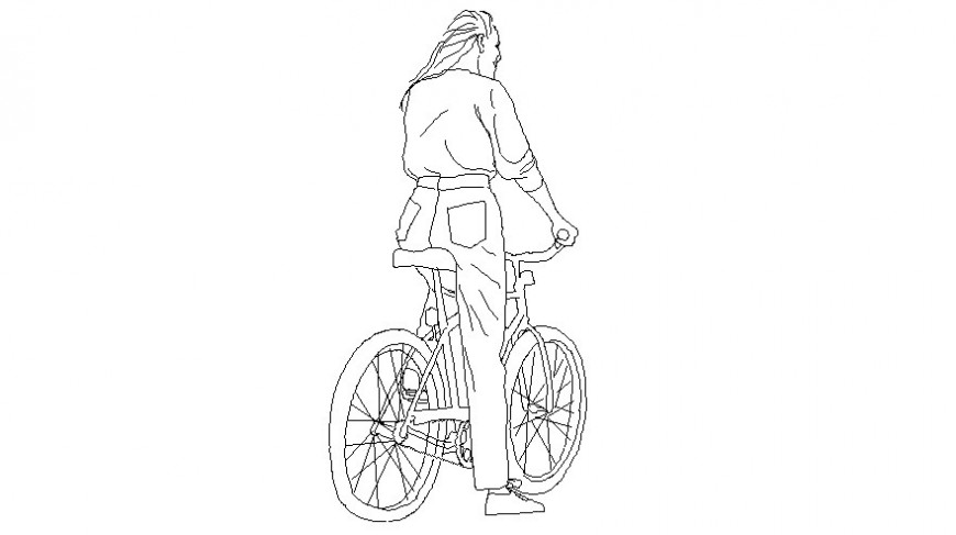Drawings 2d view of women blocks on bicycle autocad file