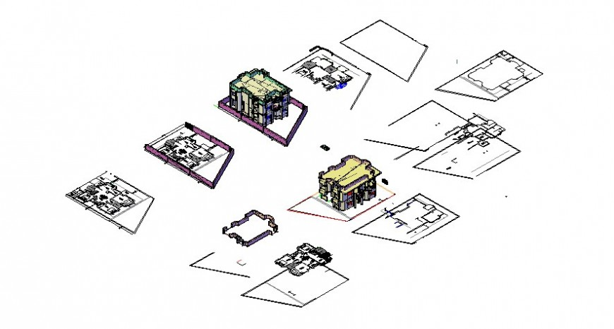 Drawings 3d model of housing apartment autocad software file