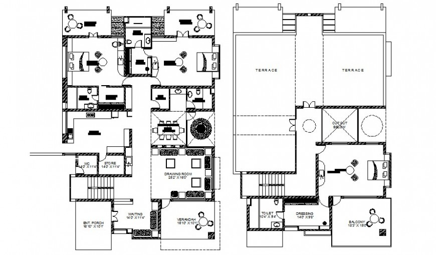Drawings center line plan of house 2d view autocad software file