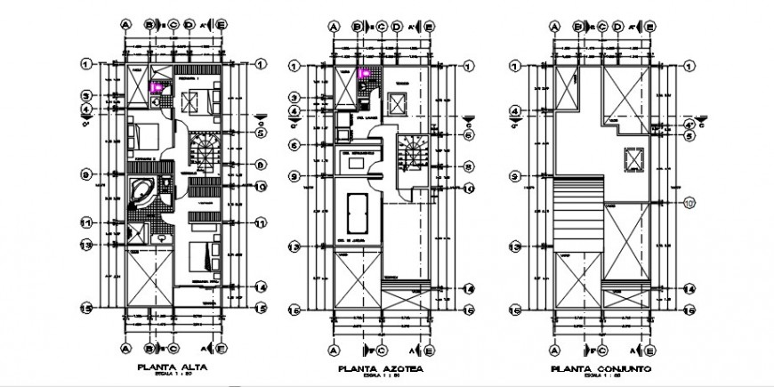 Drawings detail of house center line proposed plan dwg autocad file
