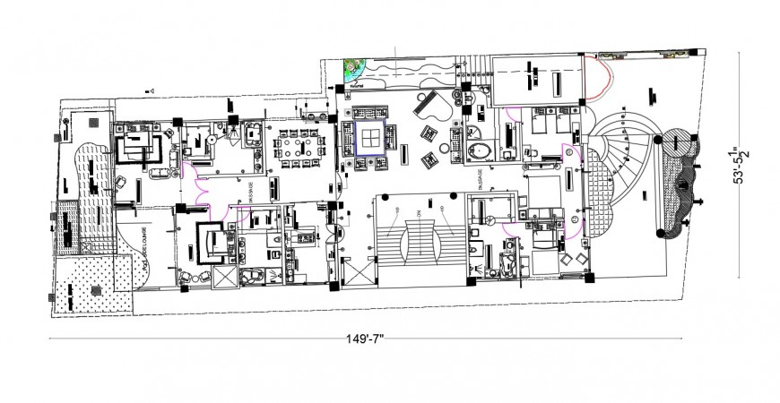 Drawings details of apartment building dwg file