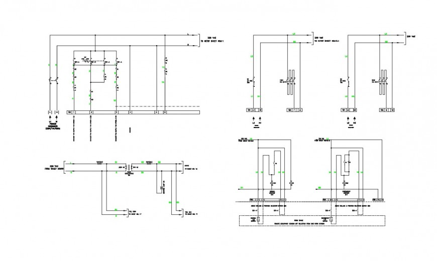 Drawings details of electrical diagram 2d view dwg file