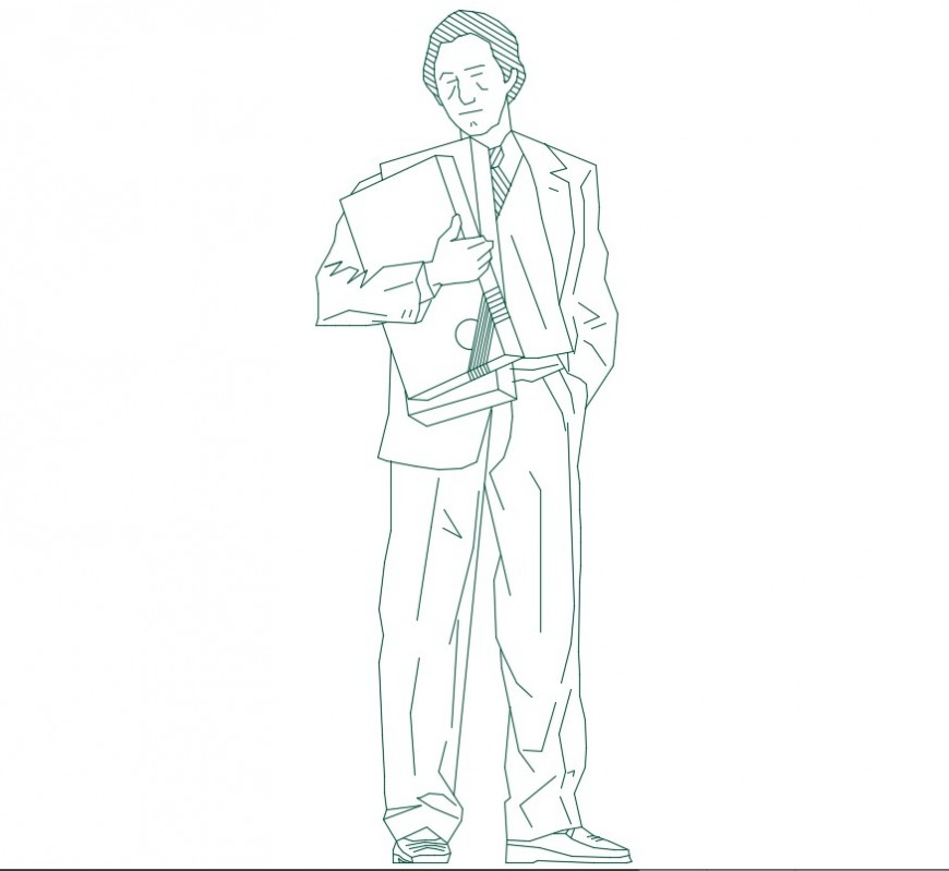 Drawings details of standing man 2d view dwg file