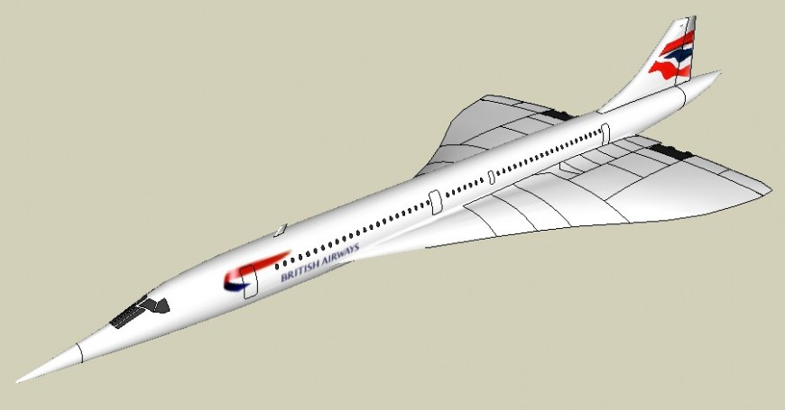 Drawings details 3d model of airplane sketch-up file