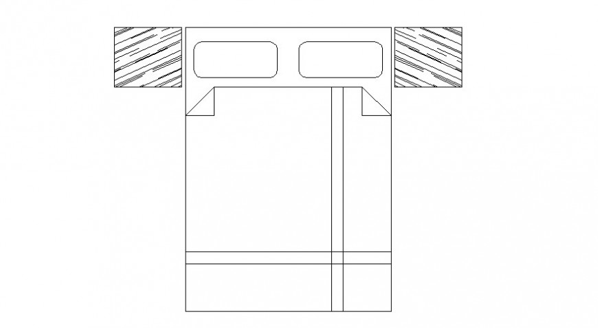 Drawings details elevation of furniture units of double bed autocad file