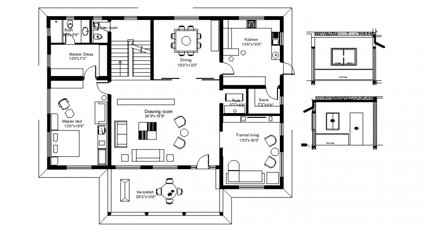 Drawings details of 2d house plan autocad software file