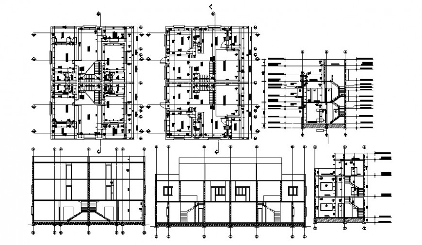 Drawings details of building apartment elevation plan and section dwg file