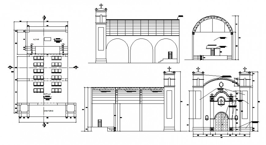 Drawings details of church building elevation and plan dwg file