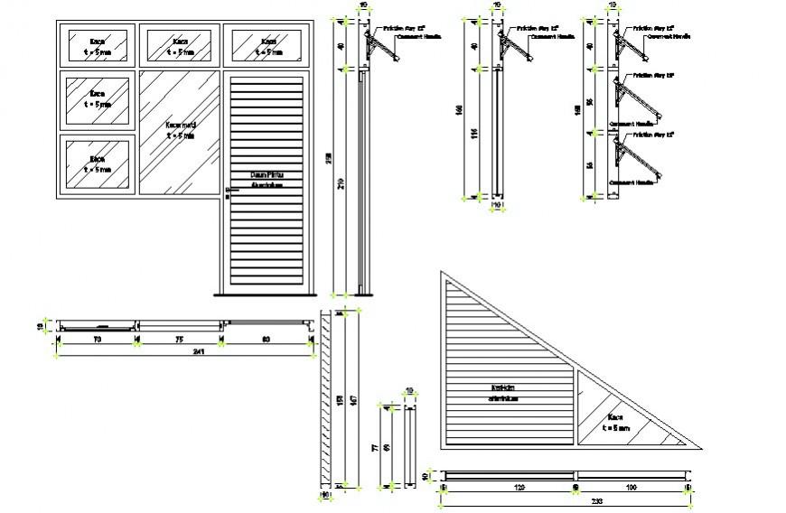 Drawings details of door window units block dwg file