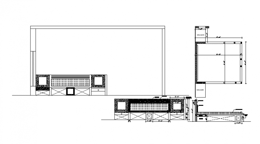 Drawings details of double bed units 2d view elevation dwg autocad file