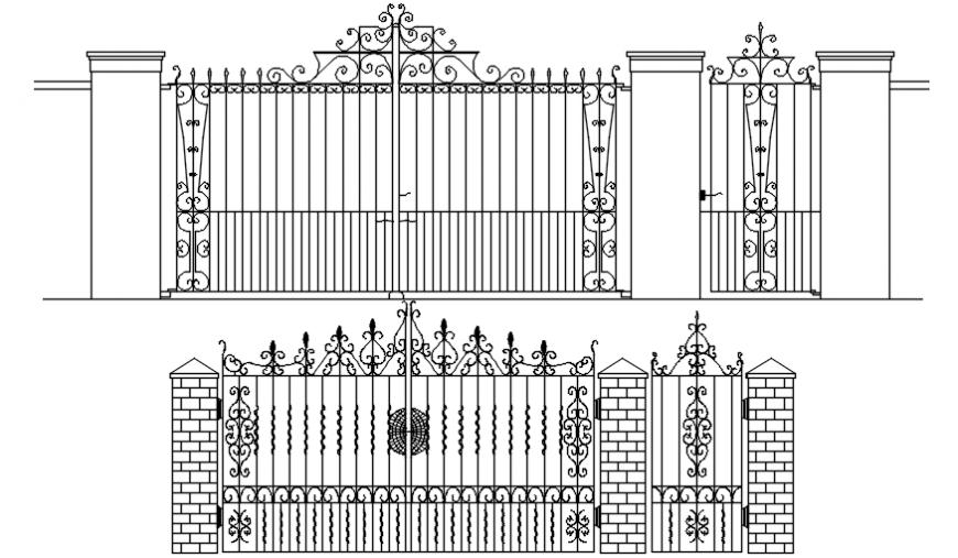 Drawings details of entrance gate design 2d view autocad software file