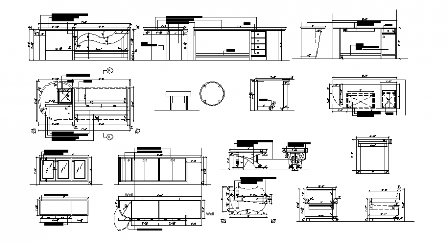 Drawings details of furniture block 2d view elevation dwg autocad file