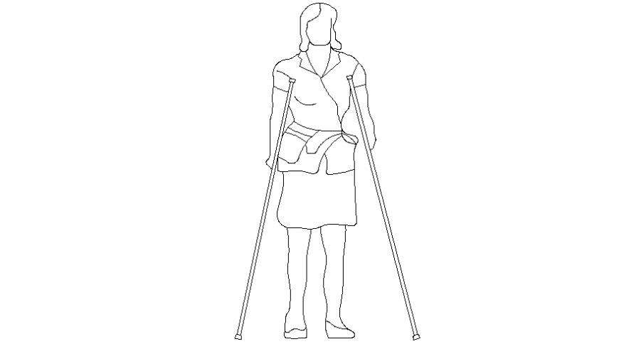 Drawings details of handicap women 2d view autocad file