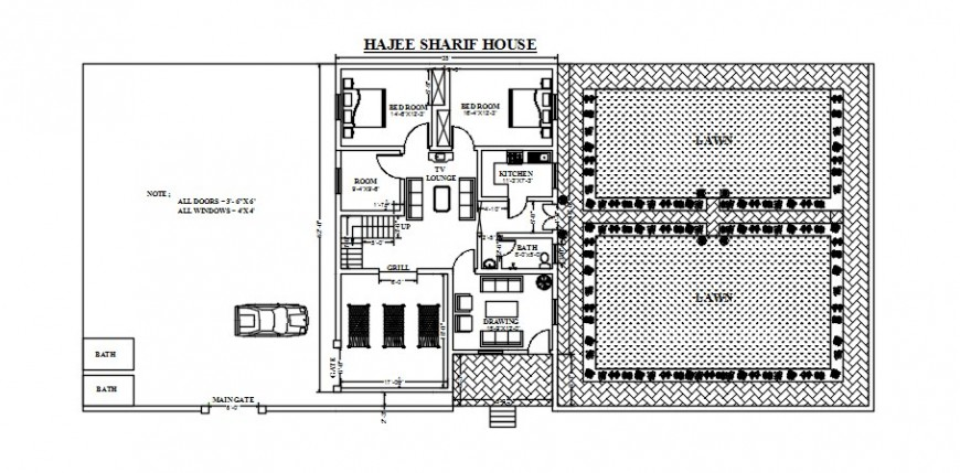 Drawings details of house floor plan dwg autocad software file