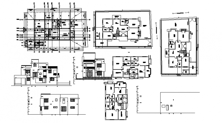 Drawings details of house layout elevation plan and section dwg file