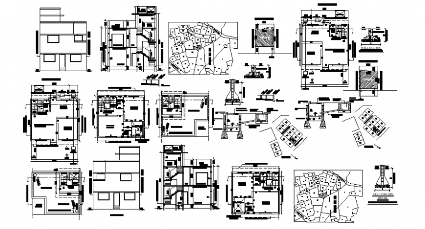 Drawings details of house plan elevation and section dwg file