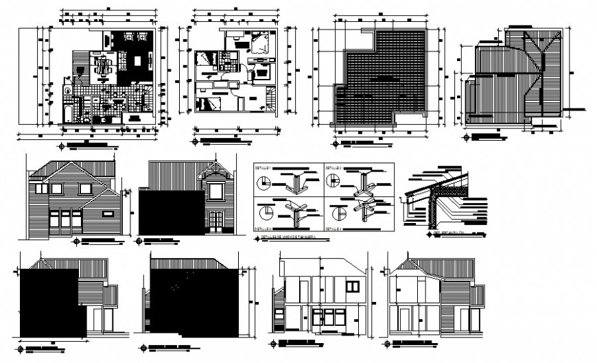 Drawings details of housing apartment 2d view autocad file