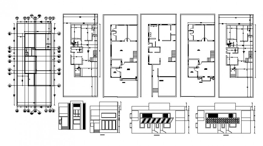 Drawings details of housing apartment 2d view autocad software file
