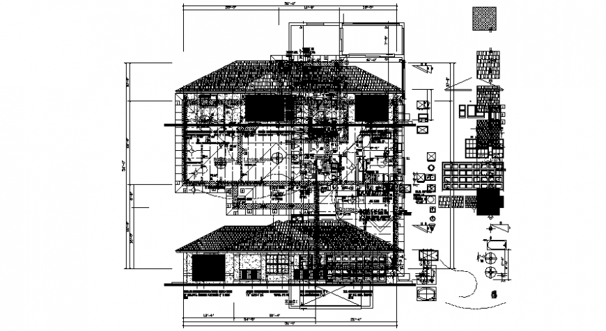 Drawings details of housing apartment plan and elevation 2d view dwg file