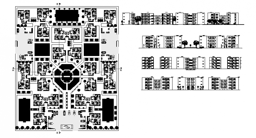 Drawings details of housing apartment plan elevation and sectional details in autocad