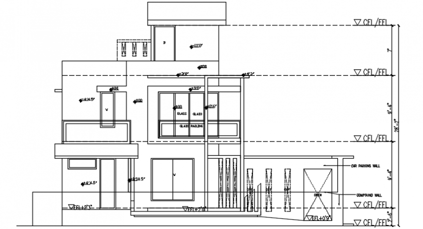 Drawings details of housing blocks elevation dwg autocad file