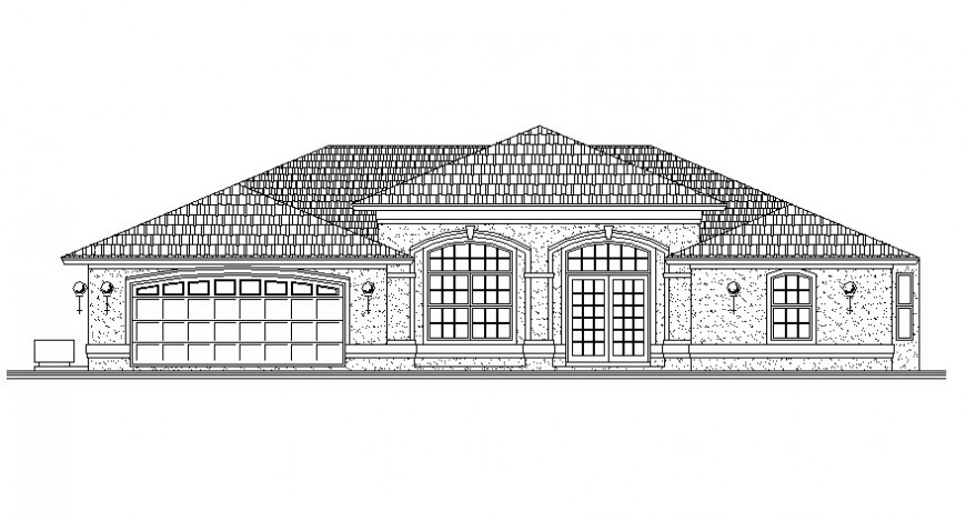 Drawings details of housing bungalow elevation autocad software file