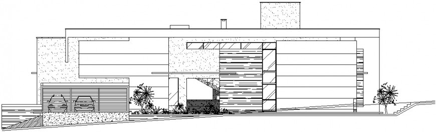 Drawings details of housing bungalow elevation dwg file