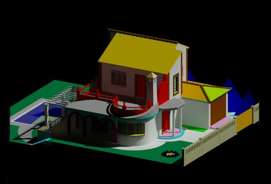 Drawings details of housing bungalow units 3d model dwg file