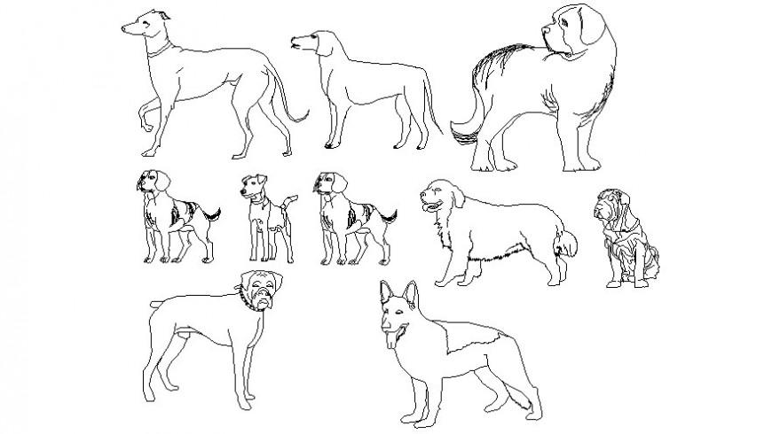 Drawings details of pet dog animal blocks dwg autocad software file