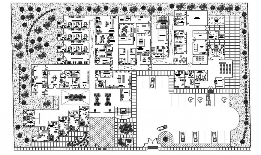 Drawings details of school institute building floor plan dwg file
