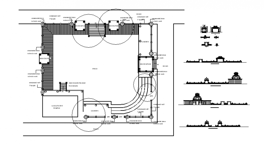 Drawings details of temple plan and elevation autocad file
