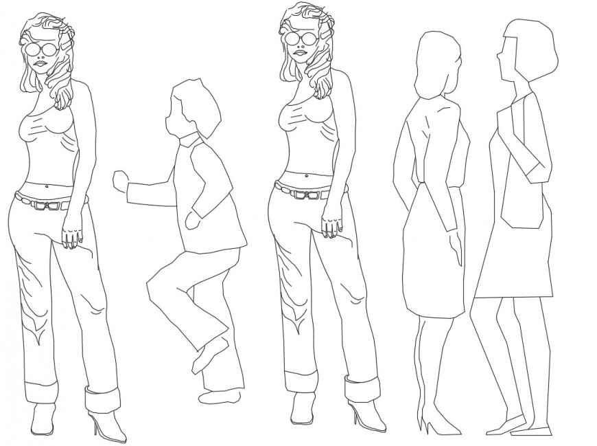 Drawings details of women model people block dwg file