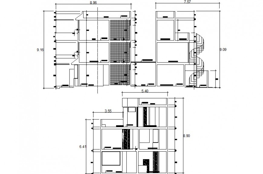 Drawings details section of apartment 2d view dwg file