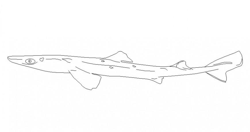 Drawings of aquatic fish animal blocks details in AutoCAD softwrae file