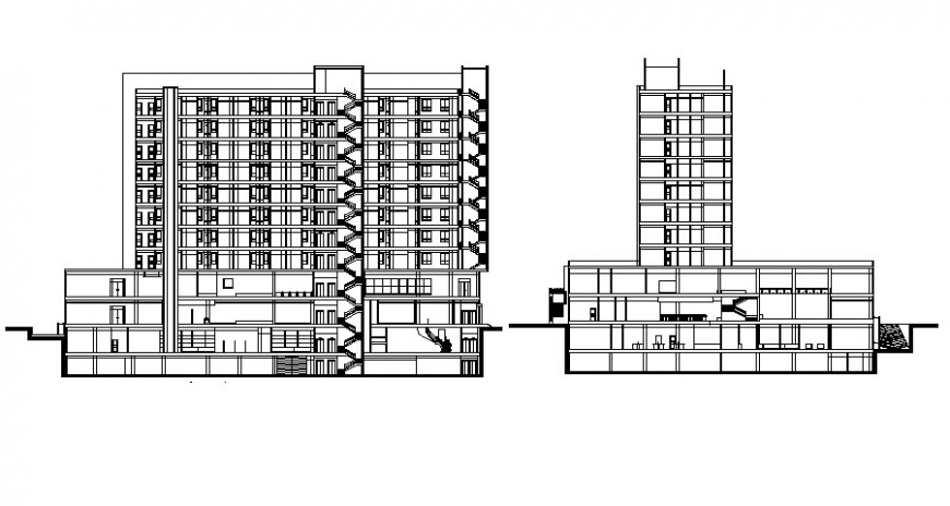 Drawings of building elevation and section autocad file