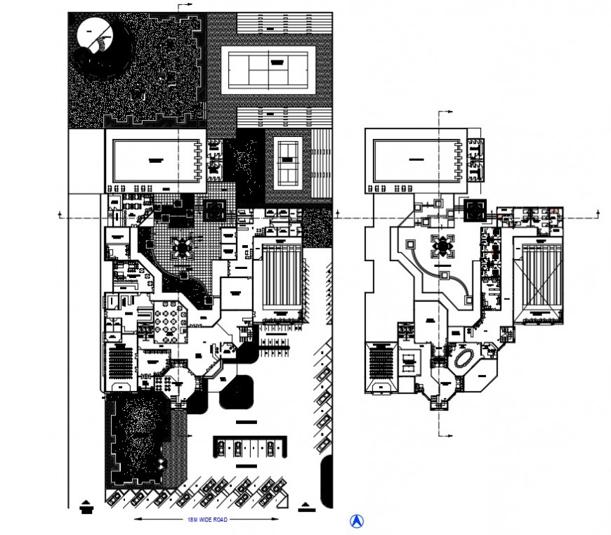 Drawings of clubhouse work plan details in autocad software file
